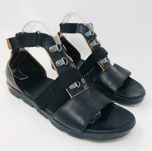 Sorel Black Leather Torpeda Carly Gladiator Sandal